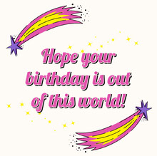 Pink and Purple Shooting Star Birthday greeting Square Cards