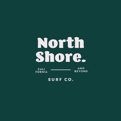 Green & White Surf Company Logo Surfing
