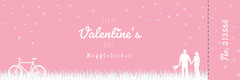 Pink and White Illustrated Valentine's Day Party Raffle Ticket Valentine's Day