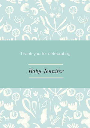 White and Blue Thank You Card Baby Shower Thank You Card