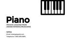 Black and White Music School Business Card with Piano Keyboard Music Lessons Flyer