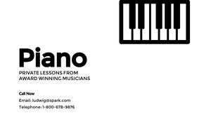 Black and White Music School Business Card with Piano Keyboard Carte de visite