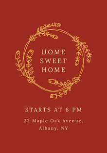 Claret and Gold Housewarming Party Invitation Invitation