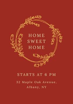 Claret and Gold Housewarming Party Invitation Housewarming Invitation