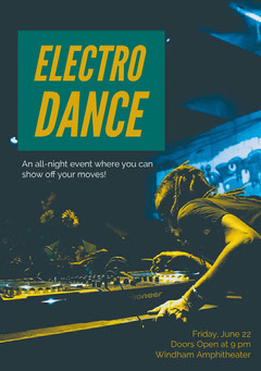 Orange and Black Electro Dance Invitation Dance Flyer
