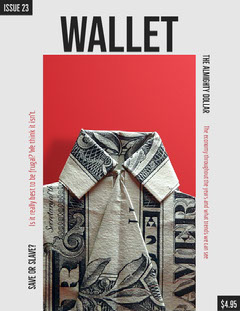 Financial Magazine Cover with Dollar Bill Finance
