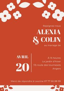 orange floral wedding cards Carte de remerciement de mariage