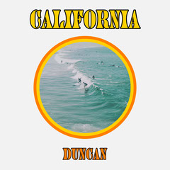Yellow and Blue Circle Surfing Album Artwork  California