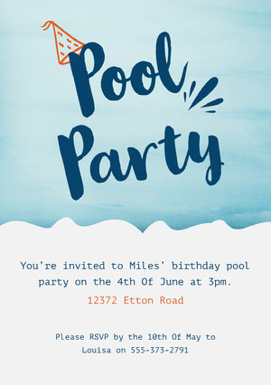Blue and Orange Party Hat Pool Party Birthday Party Invitation Card  Party Invitation
