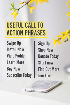 Yellow & Grey Phone on Table Call to Action Phrases Pinterest Post Grey