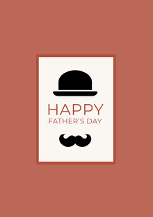 Red Fathers Day Card with Top Hat and Mustache Cartões de Dia dos Pais
