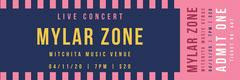 Mylar zone stripe concert ticket Band