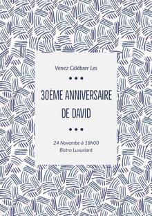 30ème anniversaire <BR>de David  Invitation