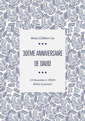 30ème anniversaire <BR>de David  Invitation d'anniversaire
