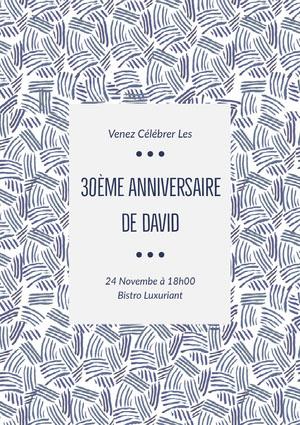 30ème anniversaire <BR>de David  Invitation à une fête