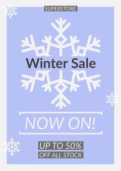 Blue Snowflake Winter Sale Flyer Promotion