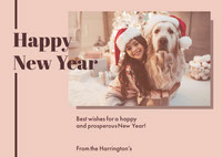 Beige Happy New Year Dog and Girl in Santa Hats Photo card Happy New Year Quotes