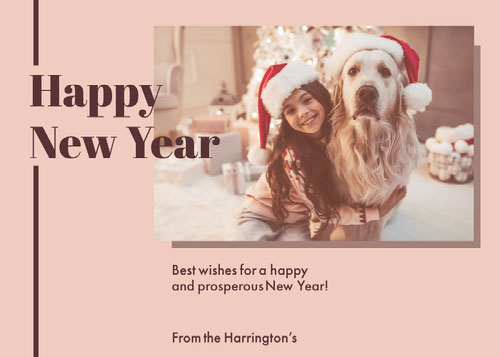 Beige Happy New Year Dog and Girl in Santa Hats Photo card Messaggi di felice anno nuovo