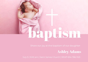 Pink Baptism Announcement and Invitation Card with Baby Girl Baptism Invitation