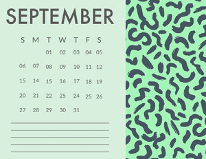 Green and Blue September Calendar with Pattern Calendrier
