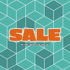 Teal and Orange Geometric Shop Sale Instagram Square Ad with Coupon Code Discount