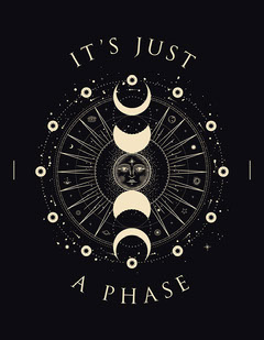 Black and Golden, Moon Phases T-Shirt, Poster Moon