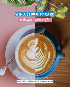 Pink and Blue Cafe Gift Card Promo Instagram Portrait Graphic with Coffee Cup Gift Card