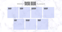 Purple & Marble Social Media 1 Week Planner Instagram Landscape Social Media Flyer