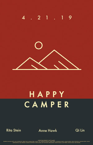 Brown Illustrated Camping Movie Poster with Mountains Filmposter