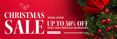 Red, White and Green Christmas Sale Facebook Banner Holiday Sale