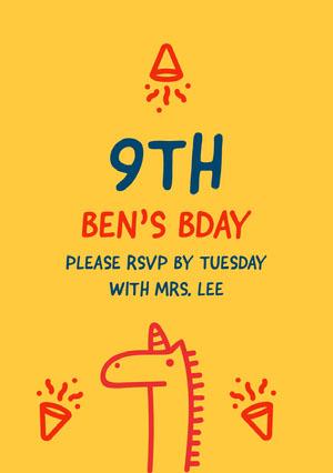 9th Unicorn Birthday Card