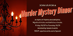 Red and Brown Murder Mystery Dinner Halloween Party Facebook Banner Ad Scary