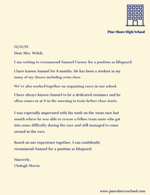Lifeguard Recommendation Letter Carta