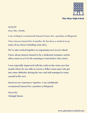Lifeguard Recommendation Letter Carta de recomendación