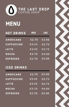 coffee shop café menu Copy Cafe