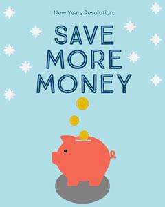 Save Money New Years Resolution Instagram Portrait with Piggybank Finance
