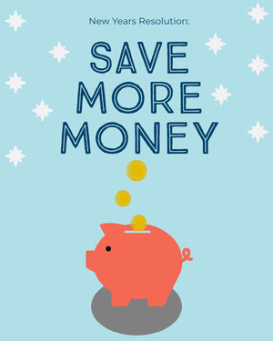 Save Money New Years Resolution Instagram Portrait with Piggybank Happy New Year