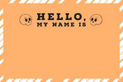 Halloween Pumpkin Bat Party Name Tag Hello