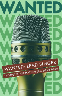 Green Music Band Singer Wanted Flyer Job Poster