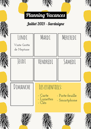 Black and Yellow Pineapple Pattern Holiday Planner A4  Agenda journalier
