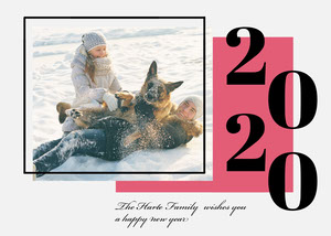 New Year Card with Couple with Dog Playing in Snow Happy New Year Messages