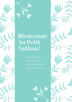 sky blue floral baby shower invitations  Invitation fête de naissance