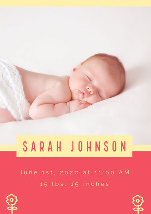 Pink and Sleeping Baby Birth Announcement Birth Announcement