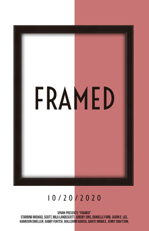 Pink White and Black Framed Movie Poster Filmposter