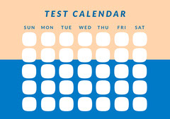 Yellow and Blue Test Calendar Worksheet Education