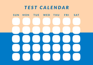 Yellow and Blue Test Calendar Worksheet Hoja de cálculo