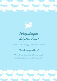 Woof League Adoption Event Dog Flyer