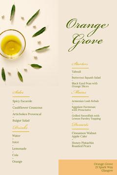 Beige and Green Orange Grove Menu Dinner Menu