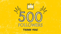 Yellow Crown 500 Followers Thank You Twitter Post Graphic Thank You Poster