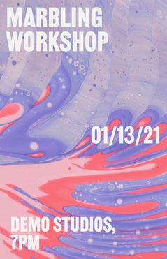 Purple Minimal Marbling Workshop Poster Workshop